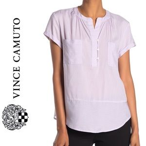 {Vince Camuto} Striped Roll Sleeve Tranquil Top